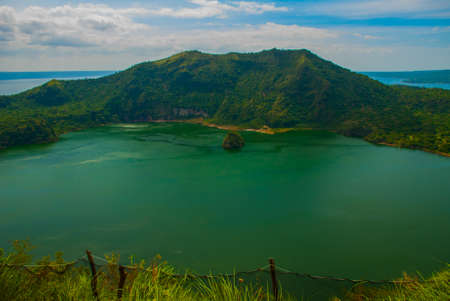 erupting: Taal Volcano in Tagaytay, Vulcan Point. Philippines. Luzon Island