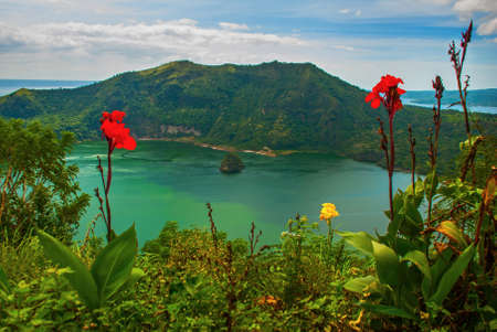 Taal and beautiful flowers in Tagaytay, Vulcan Point. Philippines