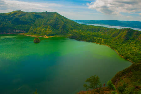 crater lake: Taal Volcano in Tagaytay, Vulcan Point. Philippines. Luzon Island