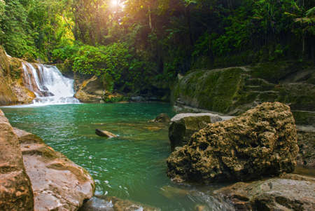 Deep forest beautiful waterfall National Park island of Bohol. Philippines