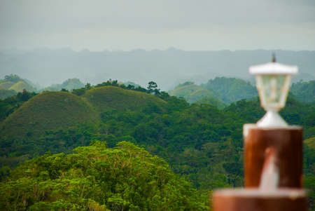 Chocolate Hills and white lights, Bohol Island, Philippines Southeast Asia Stock Photo