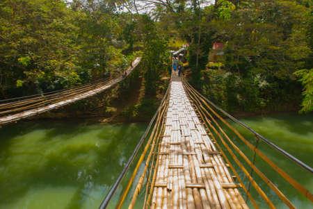Beautiful Bamboo Bridge - Bohol - Philippines. Southeast Asia Stock Photo