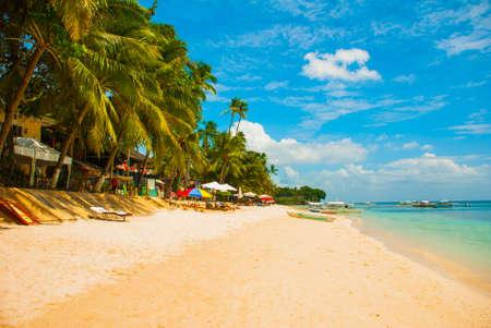 The white sand tropical beach of Panglao Island, beautiful Bohol Province.Philippines Stock Photo