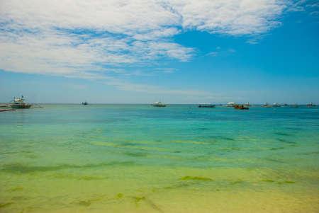 Boats in the sea, beautiful landscape. Island, beautiful Bohol Province.Philippines Stock Photo
