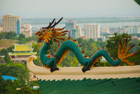 Beautiful Pagoda and dragon sculpture of the Taoist Temple in Cebu, Philippines. Stock Photo