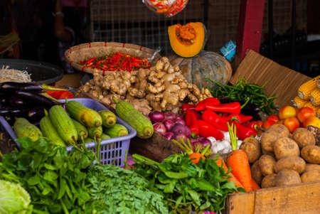 Vegetables on the shelf. Market on the street. Cebu. Philippines