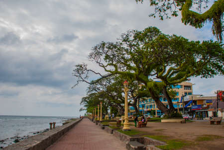 Waterfront with beautiful trees in cloudy weather. Dumaguete City, Philippines Stock Photo