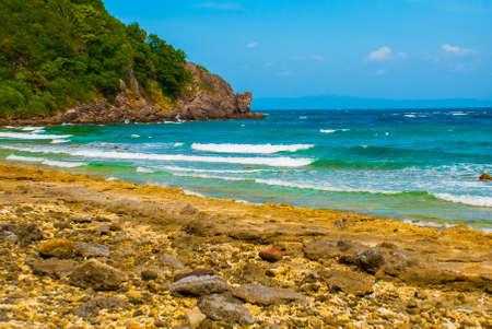 Beautiful sea. Apo island, Philippines, view on island beach line