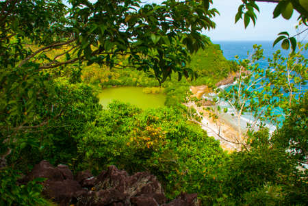 Beautiful sea. Apo island, Philippines, view on island beach line. The view from the top. Stok Fotoğraf