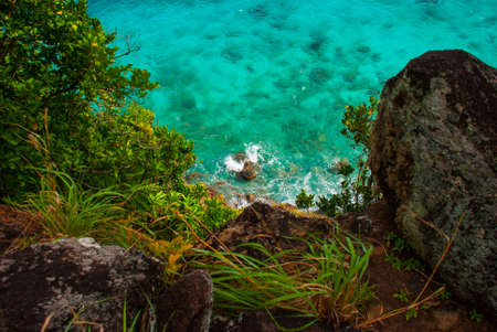 Beautiful sea. Apo island, Philippines, view on island beach line. The view from the top. Stock Photo