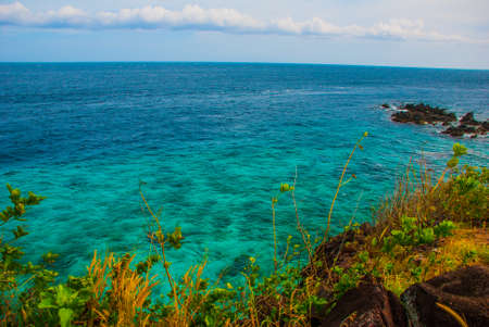 Beautiful sea. Apo island, Philippines. The view from the top Stok Fotoğraf