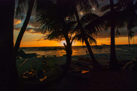 Beautiful tropical landscape with palm trees at sunset. Boracay island, Philippines