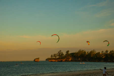 The beach where people skate kitesurfing. Boracay island, Bulabog beach, Philippines.