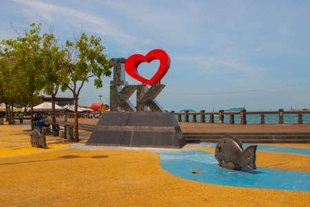 The sculpture of the letters. landmark I Love KK pictured. Kota Kinabalu Sabah Malaysia Stock Photo