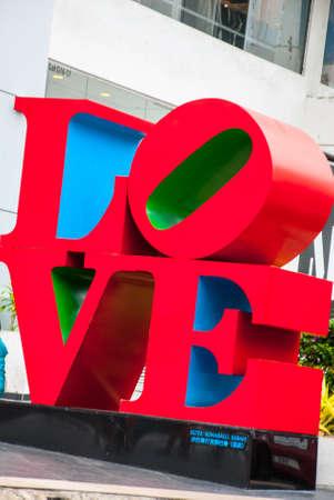 Message of love with metal letters. Kota Kinabalu, Sabah, Malaysia.