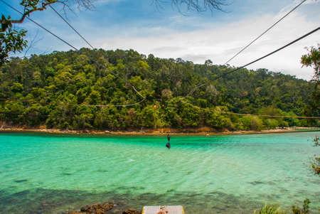 Beautiful landscape, view from the island of SAPI with views of the sea and the island of Gaia. Sabah, Malaysia. Zet lain