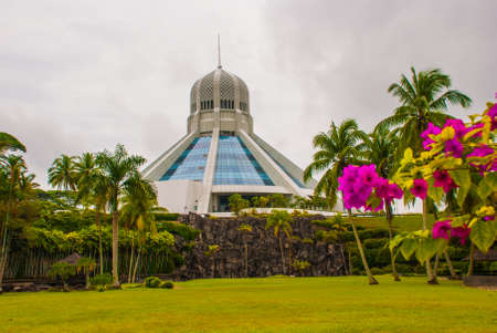 The building is a Museum of cats. Landscape with palm trees. Red pink flowers. Kuching, Borneo, Sarawak, Malaysia Stock Photo