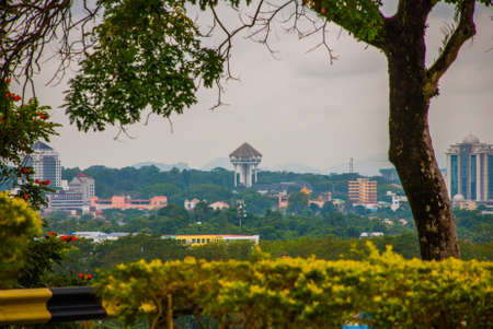 View of the city from the top in cloudy weather. Kuching, Borneo, Sarawak, Malaysia