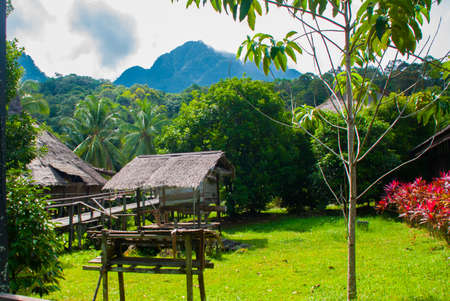Traditional wooden houses in the Kuching to Sarawak Culture village. Landscape with a mountain on the horizon. Borneo, Malaysia Stock Photo