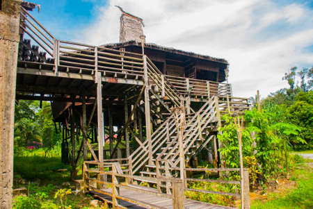 Traditional wooden houses in the Kuching to Sarawak Culture village. Borneo, Malaysia Stock Photo