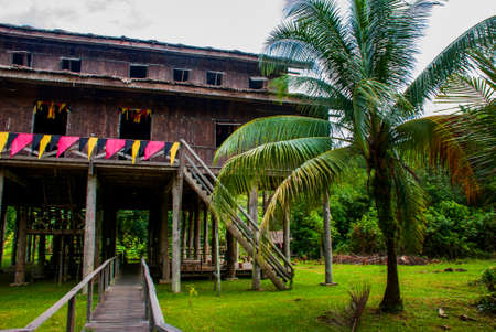 Traditional wooden houses Nelanau Yall in the Kuching to Sarawak Culture village. Borneo, Malaysia