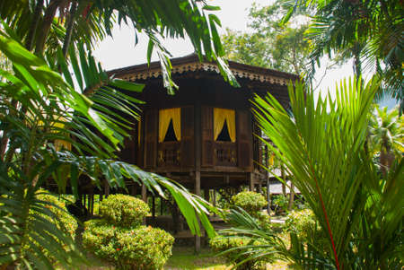 Traditional wooden houses Ruman Melayu in the Kuching to Sarawak Culture village. Borneo, Malaysia
