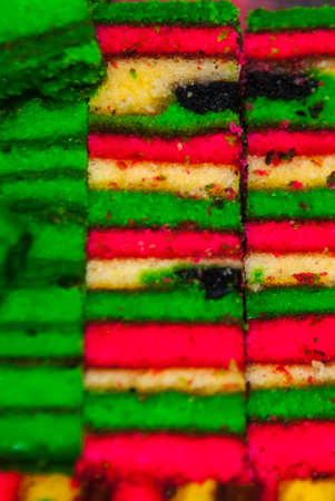 Traditional mixed colors sweet sponge cake. An unusual and Delicious dessert Borneo, Sarawak, Malaysia Stock Photo