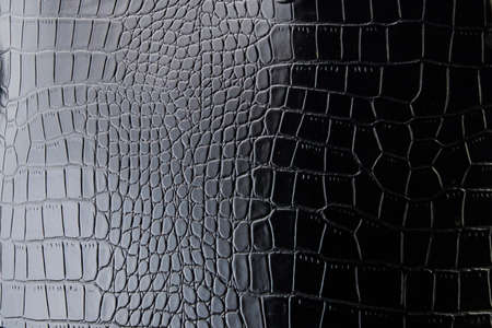 The texture of the leather in black. Patent leather Archivio Fotografico