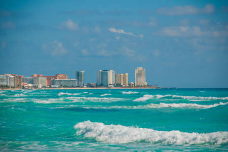 View from the sea to buildings and the hotels of Cancun. Mexico. Stock Photo