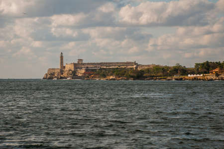 The Castillo Del Morro lighthouse in Havana. The old fortress Cuba. View from Malecon waterfront.