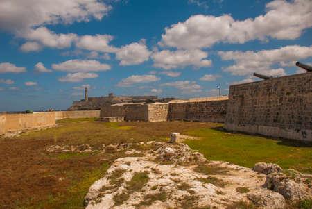 The old colonial castle of San Salvador de la Punta. The Castillo Del Morro lighthouse in Havana. The old fortress Cuba.