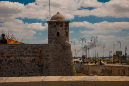The old colonial castle of San Salvador de la Punta. Havana. The old fortress Cuba. Banco de Imagens