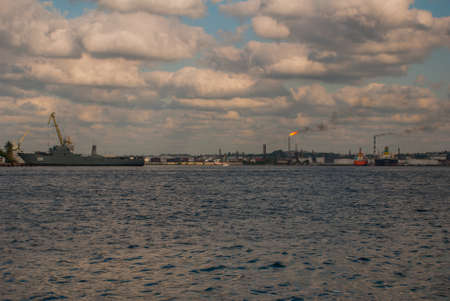 View from afar to the Bay and port of Havana. Landscape in cloudy weather. Cuba.