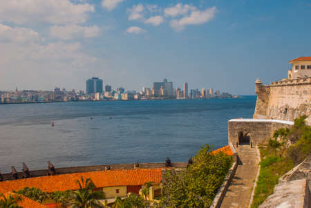 View of the city and the Bay from the fortress Castillo Del Morro lighthouse. Havana capital of Cuba