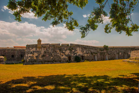 Fortaleza de San Carlos de La Cabana, Fort of Saint Charles entrance. Located on the elevated eastern side of the harbor entrance to Havana. Old fortress in Cuba
