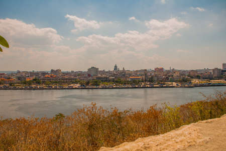 Landscape with a view of the city from the Fortaleza de San Carlos de La Cabana, Fort of Saint Charles entrance. Cuba. Havana.