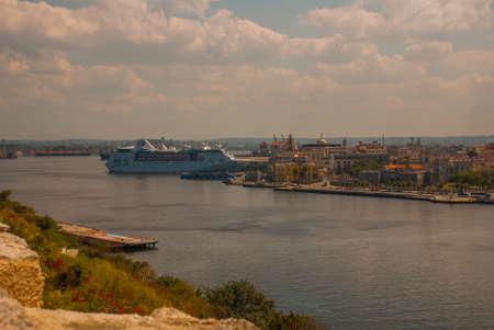 Fortaleza de San Carlos de La Cabana, Fort of Saint Charles entrance. Landscape with city views, guns are at the old fortress. Cuba. Havana.. Stock Photo