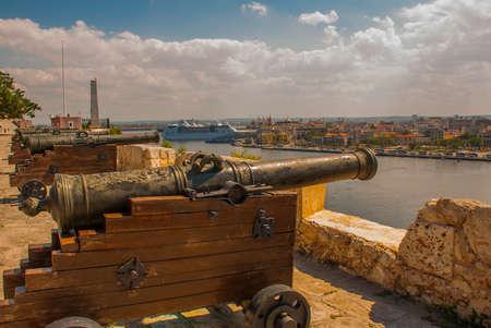 Fortaleza de San Carlos de La Cabana, Fort of Saint Charles entrance. Landscape with city views, guns Cuba. Havana. Stock Photo