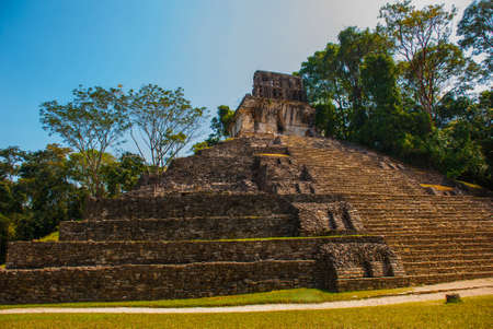 PALENQUE, MEXICO: Huge ancient pyramid with steps in the archaeological complex. Stock Photo