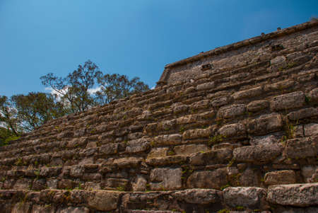 Huge pyramid steps close up. The famous archaeological complex. Mayan ruins in Palenque, Chiapas, Mexico