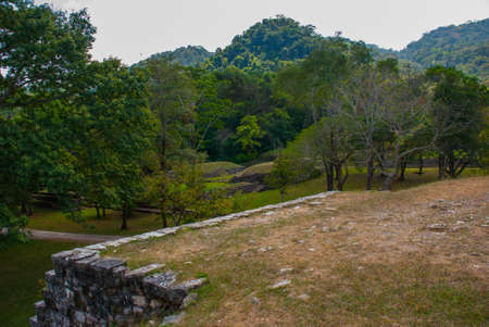 Palenque, Chiapas, Mexico. Top view of the jungle and the ancient Mayan city. Stock Photo
