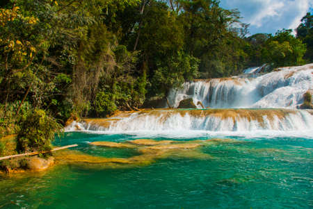 Beautiful landscape with waterfall Agua Azul, Chiapas, Palenque, Mexico