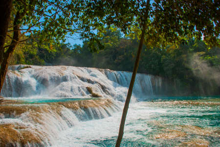 Agua Azul, Chiapas, Palenque, Mexico. View of the amazing waterfall with turquoise.