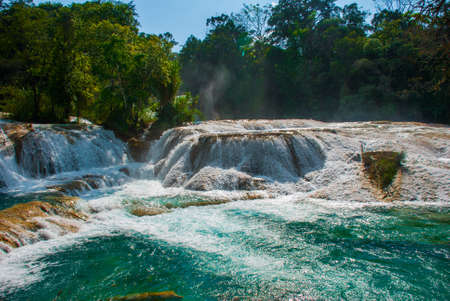 A zoomed-in view of the Agua Azul waterfalls in Mexico. Yucatan. Palenque.