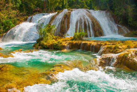 Waterfall in Mexico. Stunning waterfall Agua Azul near Palenque, state Chiapas. Amazing phenomenon of nature. Stock Photo