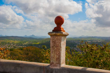 Cuba. Holguin:Landscape from the top overlooking the city Holguin from Hill of the Cross. Stock Photo