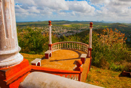 Cuba. Holguin:Landscape from the top overlooking the city Holguin from Hill of the Cross. Sightseeing in the city with an observation deck.