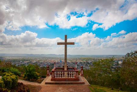 Cuba. Holguin: Loma de La Cruz de Holguin against the blue sky