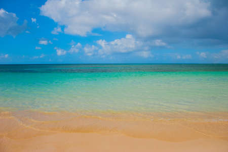 Holguin, Guardalavaca Beach, Cuba: Caribbean sea with beautiful blue-turquoise water and yellow sand. Paradise landscape