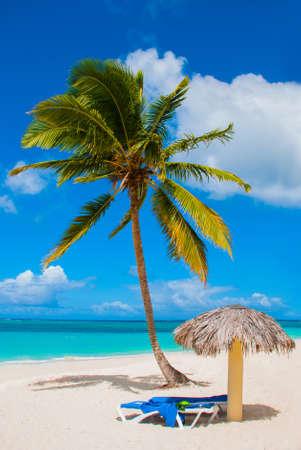 Holguin, Cuba, Playa Esmeralda. Beautiful Caribbean sea turquoise blue color and palm trees on the beach. Sun loungers and umbrellas for tourists. Banco de Imagens
